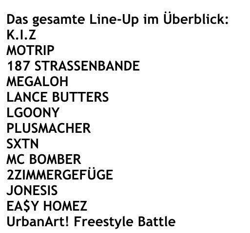 Line-up fuer UrbanArt! #HipHop-#Festival 2016 am 15.7. im #We... Saarland: Line-up fuer UrbanArt! #HipHop-#Festival 2016 am 15.7. im #Weltkulturerbe #Voelklingen ist komplett! #Saarland https://t.co/Rp72V4g2yJ Ralph Stanger, Chefreporter bei BILD #Saarland ...aber hier auch privat unterwegs Line-up fuer UrbanArt! #HipHop-#Festival 2016 am 15.7. im #We... - 0 - #Saarland http://saar.city/?p=18252