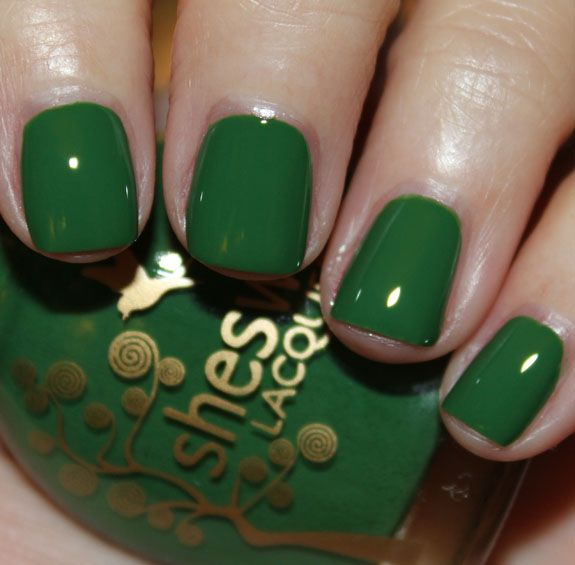 """Sheswai Nail Lacquer for Spring 2013 Swatches & Review. """"Dig"""" It is a vivid grass green creme. (review by vampy varnish)"""