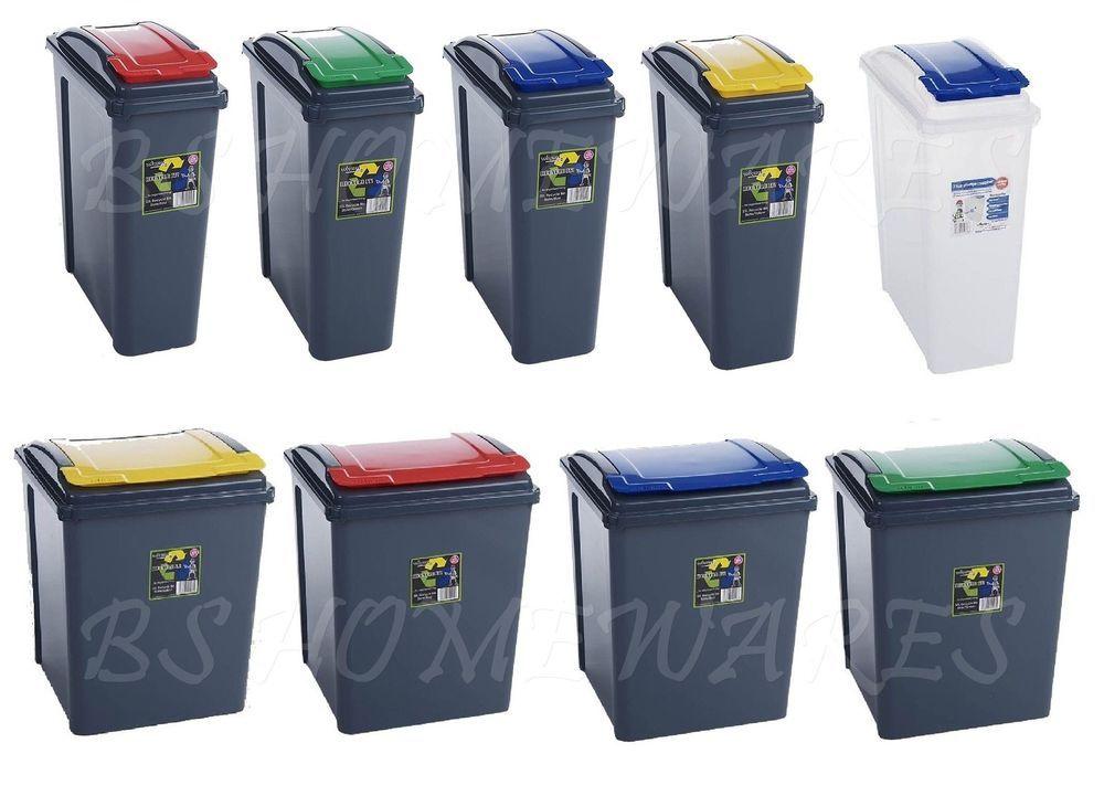 Plastic Kitchen Recycle Bin 25,50 L Dustbin Garden Waste Rubbish Recycling  Home
