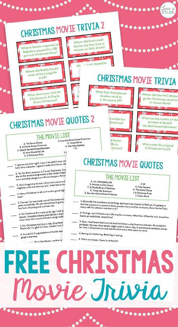 Free Printable Christmas Movie Trivia Christmas Game