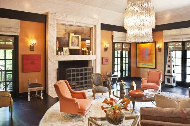 Peach (oranges) and cream sitting room