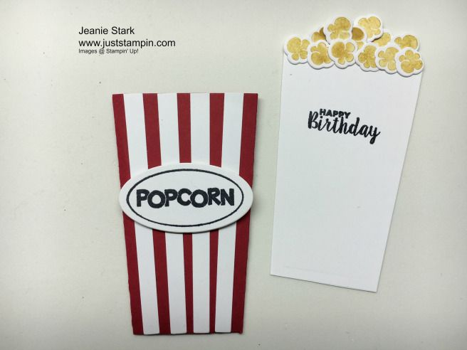 Make A Card Pouch Gift Card Holder Using The Stampin Up Popcorn Box Thinlits And Ready To Pop Stamp Set Www Popcorn Box Gift Card Holder Birthday Cards Diy