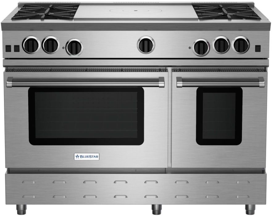 Bluestar Rnb484ftbv2ng 48 Inch Gas Range With 4 Open Burners 24 Inch French Top Ultranova Burners Preci In 2020 Convection Oven Custom Kitchen Appliances Convection