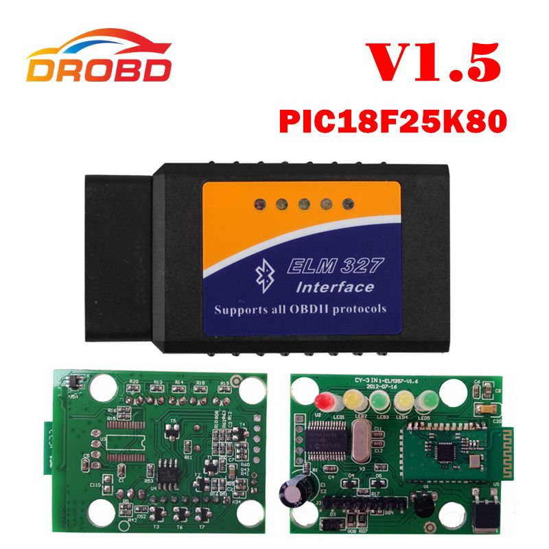 ELM327 V1.5 Bluetooth obd2 adapter With PIC18F25K80 chip ON//OFF Power Switch
