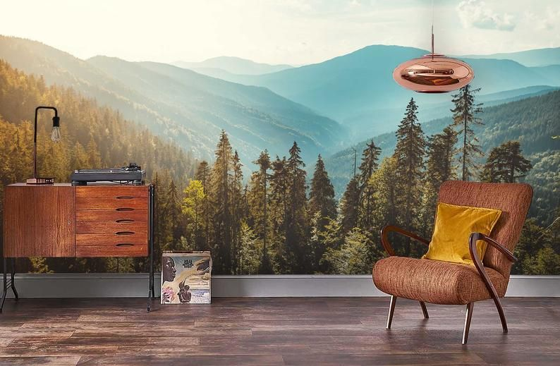 3d Pine Tree Mountain Scenery Wallpaper Removable Self Adhesive Wallpaper Wall Mural Vintage Art Peel And Stick With Images Scenery Wallpaper Tree Mural Mural Wallpaper