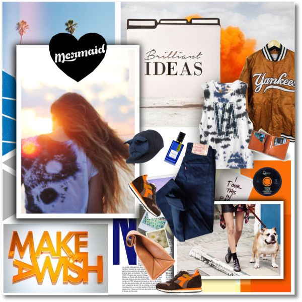 Goodbye summer by undici on Polyvore featuring мода, RVCA, Levi's, Diadora, HarLex, Francesco Ballestrazzi, Diana Vreeland Parfums, Pepe Jeans London and Polaroid