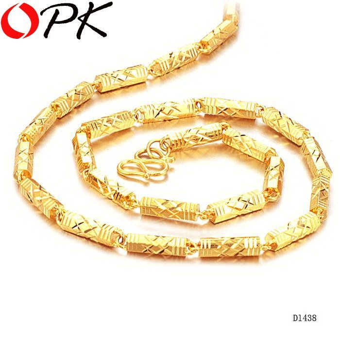OPK JEWELLERY Luxury Gold Color Pendant Link chain steel bamboo ...