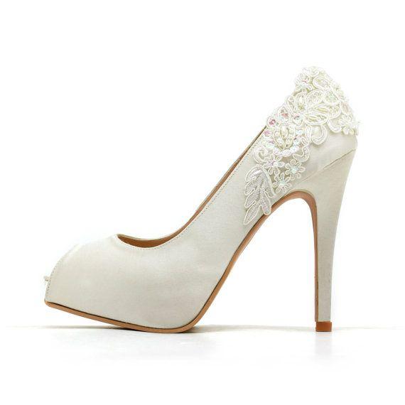 Ivory White Wedding Shoes Ivory White Bridal Heels Ivory White