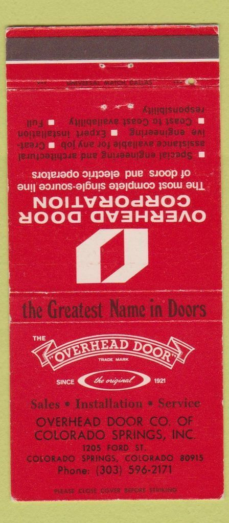 Matchbook Cover   Overhead Door Corp (now Company) At 1205 Ford Street In  Colorado