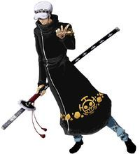 Trafalgar D. Water Law, more commonly known as just Trafalgar Law, is a character in One Piece and a infamous pirate rookie in the Eleven Supernovas. He is a friendly rival towards Luffy but only hostile towards Eustass Kid.