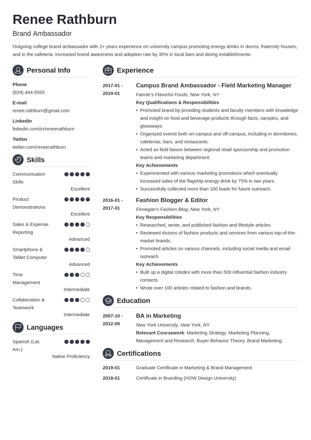 brand ambassador resume example template crisp in 2020
