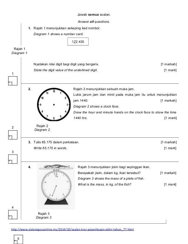 Soalan Kertas Ujian Matematik Kertas 2 Tahun 5 Kssr 1 638 Jpg 638 826 Education Math