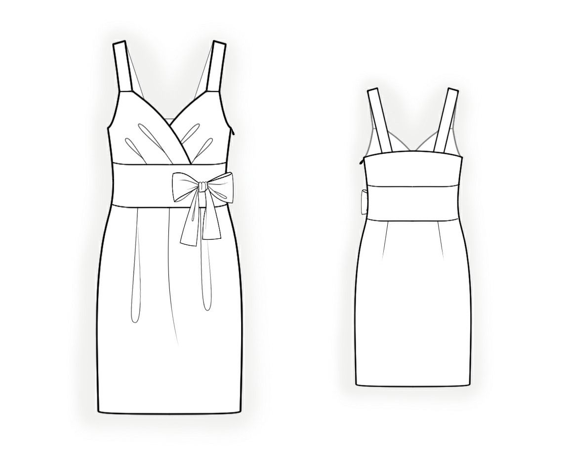 Dress With Straps  - Sewing Pattern #4140 Made-to-measure sewing pattern from Lekala with free online download.