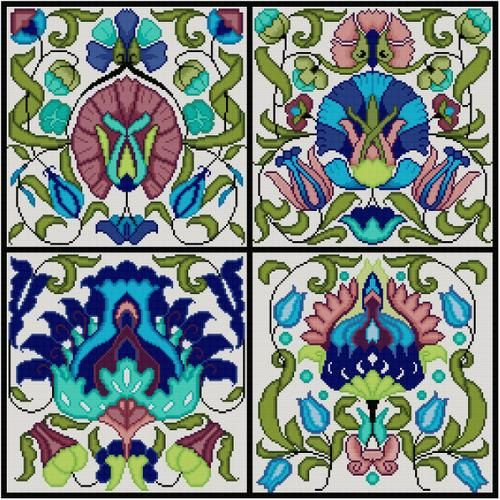 Antique Tile Cross Stitch pattern 4 tiles Arts and Crafts William de Morgan Blue Floral by Whoopicat