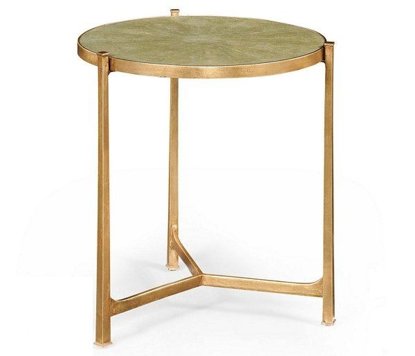 Tall Art Deco Iron Shagreen Table Distressed Gold Gilt Partner Side Tables Coffee Console Available Hospitality Residential