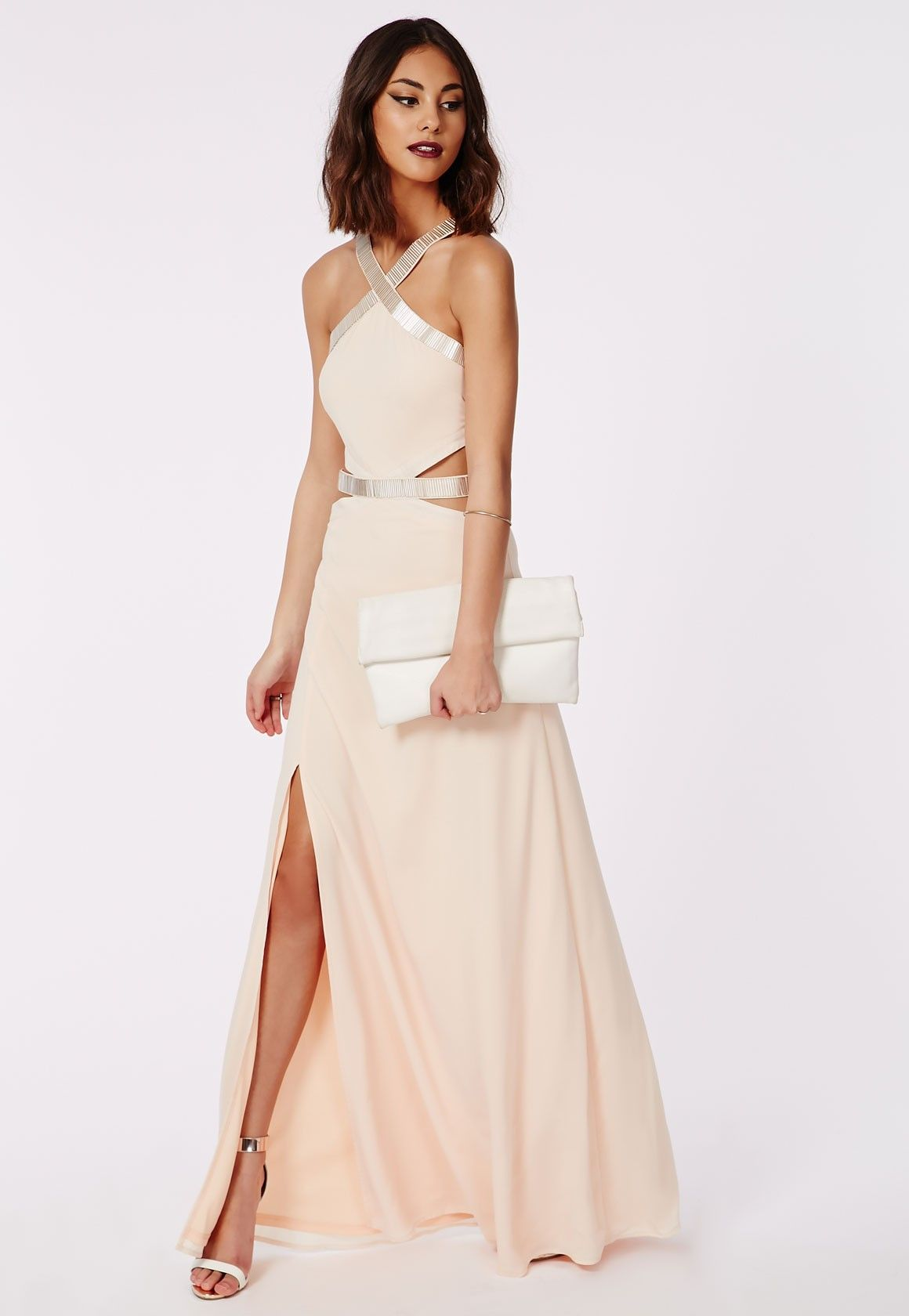 Missguided - Abbi Cut Out Embelished Maxi Dress Nude | prom ...