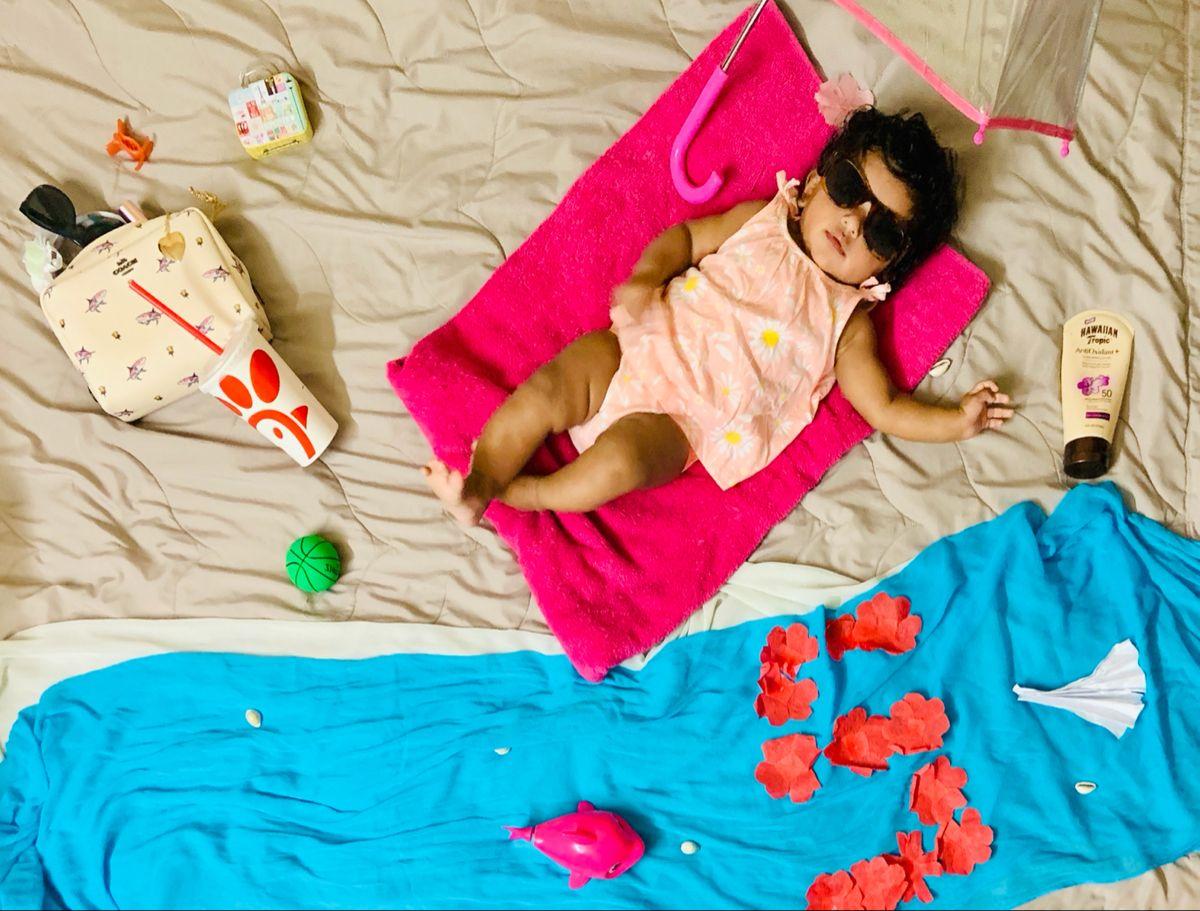Baby girl photoshoot ideas | 5 months birthday pho