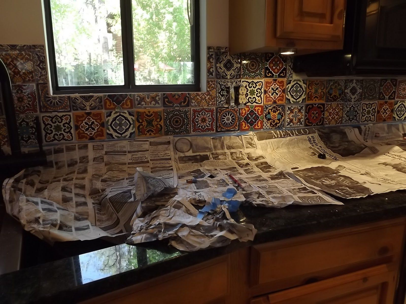Diy Tile Kitchen Backsplash Mexican Tile Kitchen Backsplash Diy How To Do Stuff Pinterest