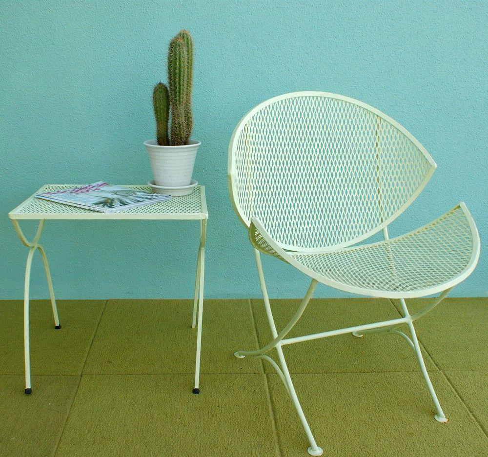 Vintage Mid Century Salterini Orange Slice Patio Chair And