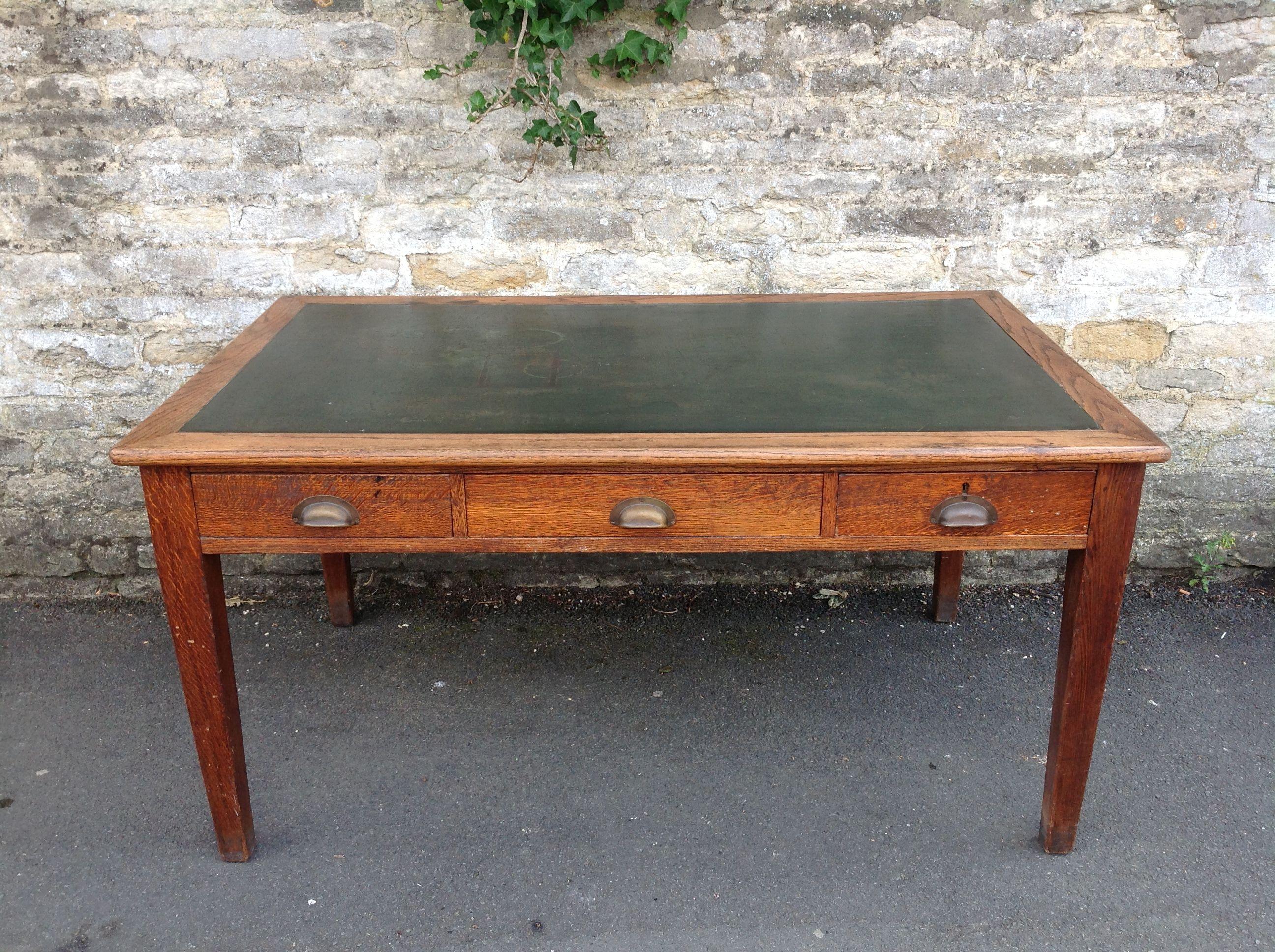 Antique Furniture Arrivals : c.1920s English Oak Three Drawer Desk ...