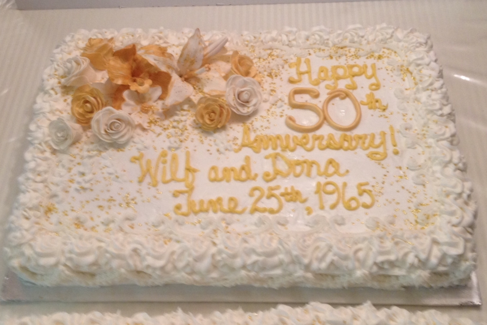 Carnoosh 50th Wedding Anniversary Sheet Cake with Gold Gumpaste ...