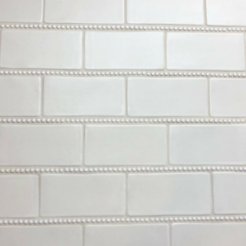 Handmade 3x6 Subway Tile With Pearl Trim タイル