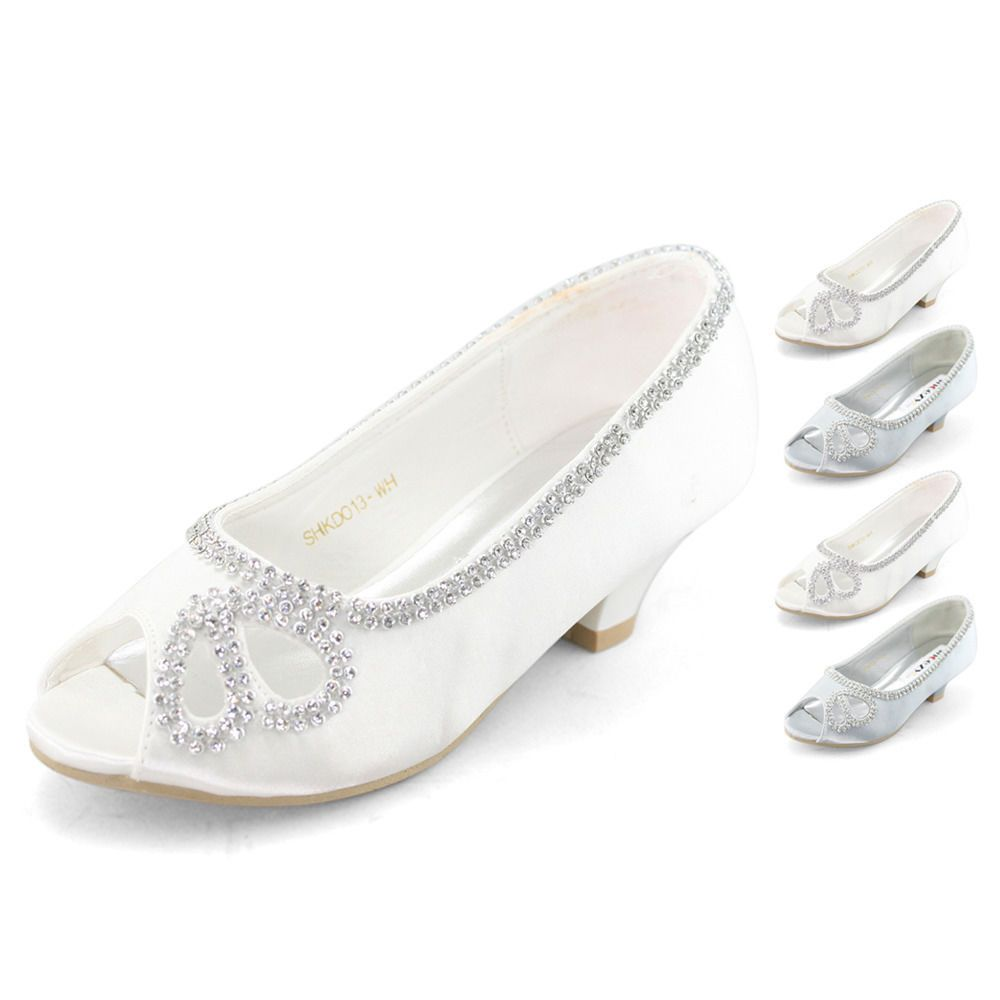 Lovely Flower Girls Kids Diamante Peep Toe Low Heels Wedding Dress Dance Shoes