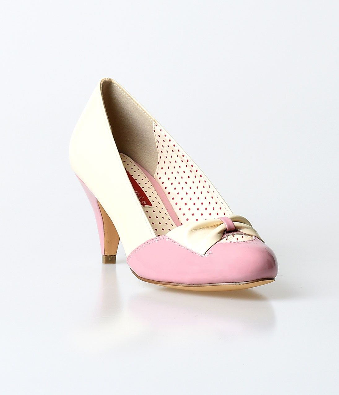 B A I T Dusty Pink Cream Patent Hanalee Kitten Heels 1950s Fashion Shoes Vintage Heels Vintage Shoes