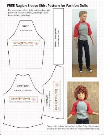 Resultado de imagem para free printable ken doll clothes patterns ...
