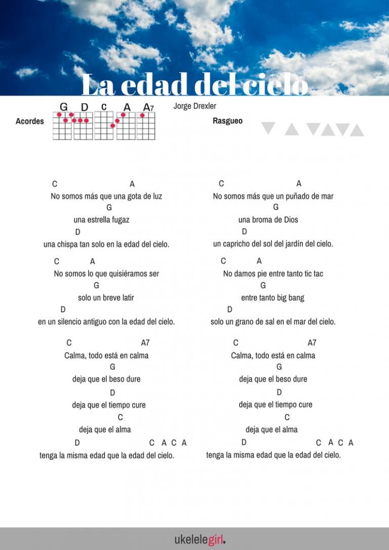 La Edad Del Cielo Cancion Para Ukelele De Ukelelegirl Es Canciones De Ukelele Ukelele Canciones