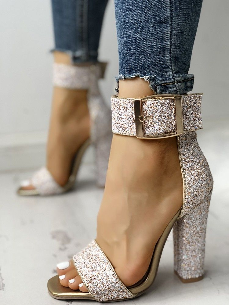 Stylish Sequin Open Toe Her Chunky Heeled Sandales   Her Toe schuhe ... 1a8ccc