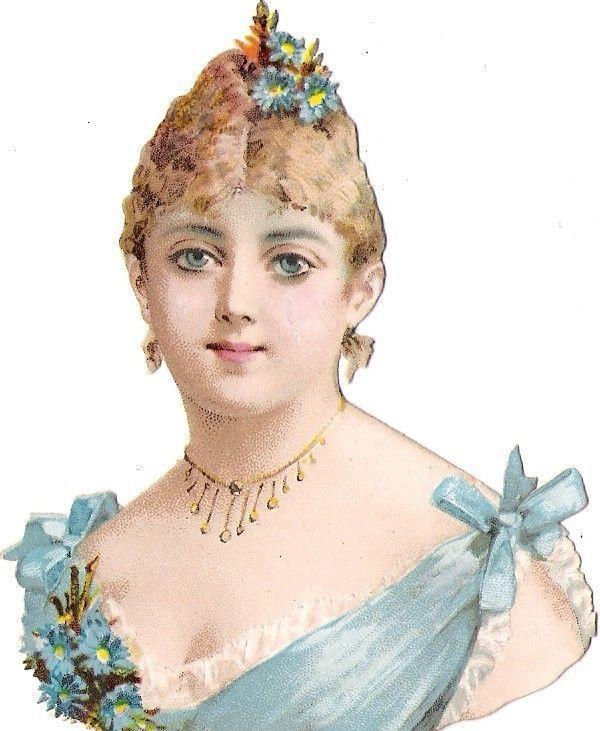 Oblaten Glanzbild scrap die cut chromo Lady Dame  9,4 cm  femme head portrait