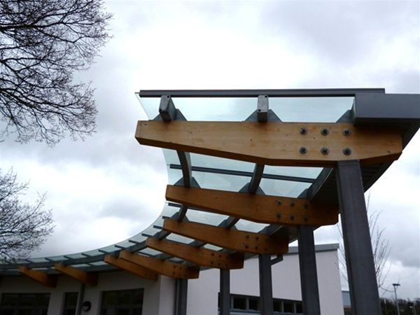 Glass roof to timber support walkway canopy uses of for Roof awning design