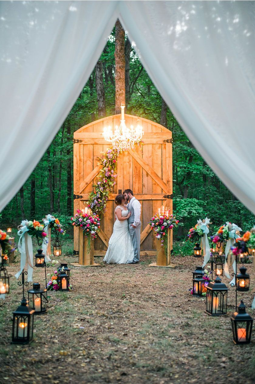 Outdoor Woodland Ceremony With Giant Barn Door Altar And