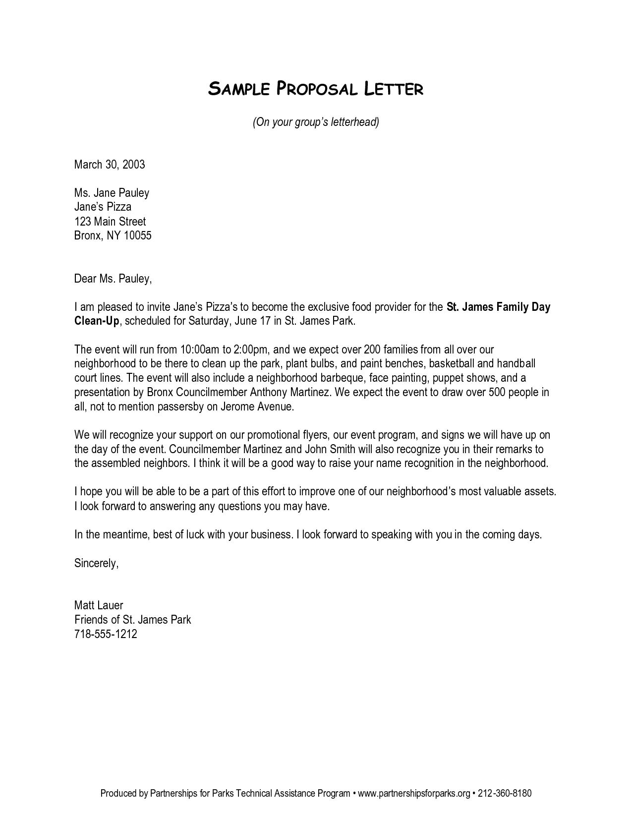 Business Letter Proposal  Cover Letter Sample For Job Application