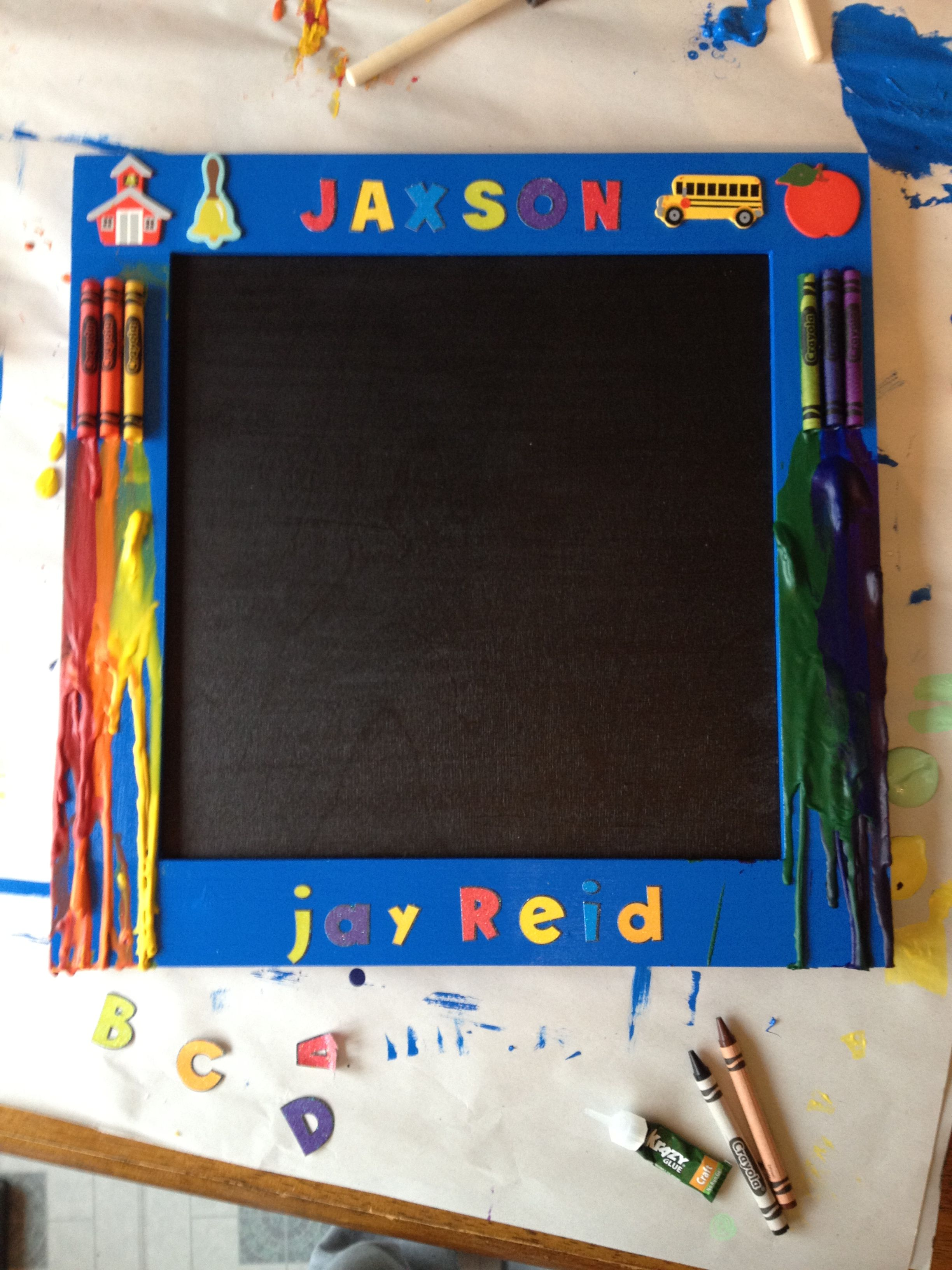 #Kid Chalkboard #Diy #Melted Crayon Project #Wood Frame, Piece Of