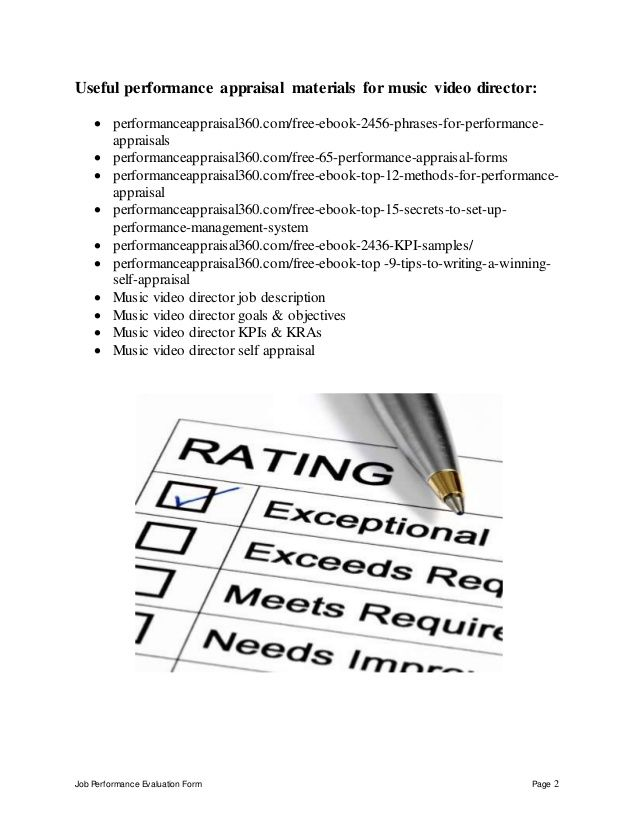 Job Performance Evaluation Form Page 2 Useful performance - music resume samples