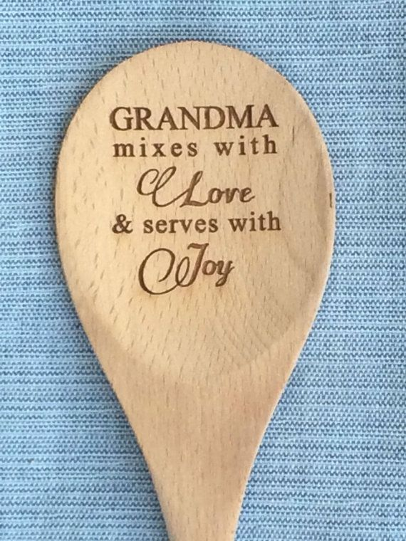 Personalized Gift For Grandma Grandparents Nana Engraved Wood Spoon Mixing
