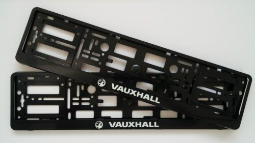 2 x BLACK VAUXHALL CAR NUMBER PLATE SURROUNDS HOLDER FRAME PAIR FOR ...