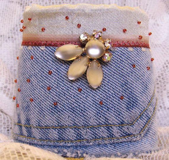 Upcycled Denim Bracelet Cuff: Vintage Jewelry Centerpiece & Hand Beading. $45.00, via Etsy.