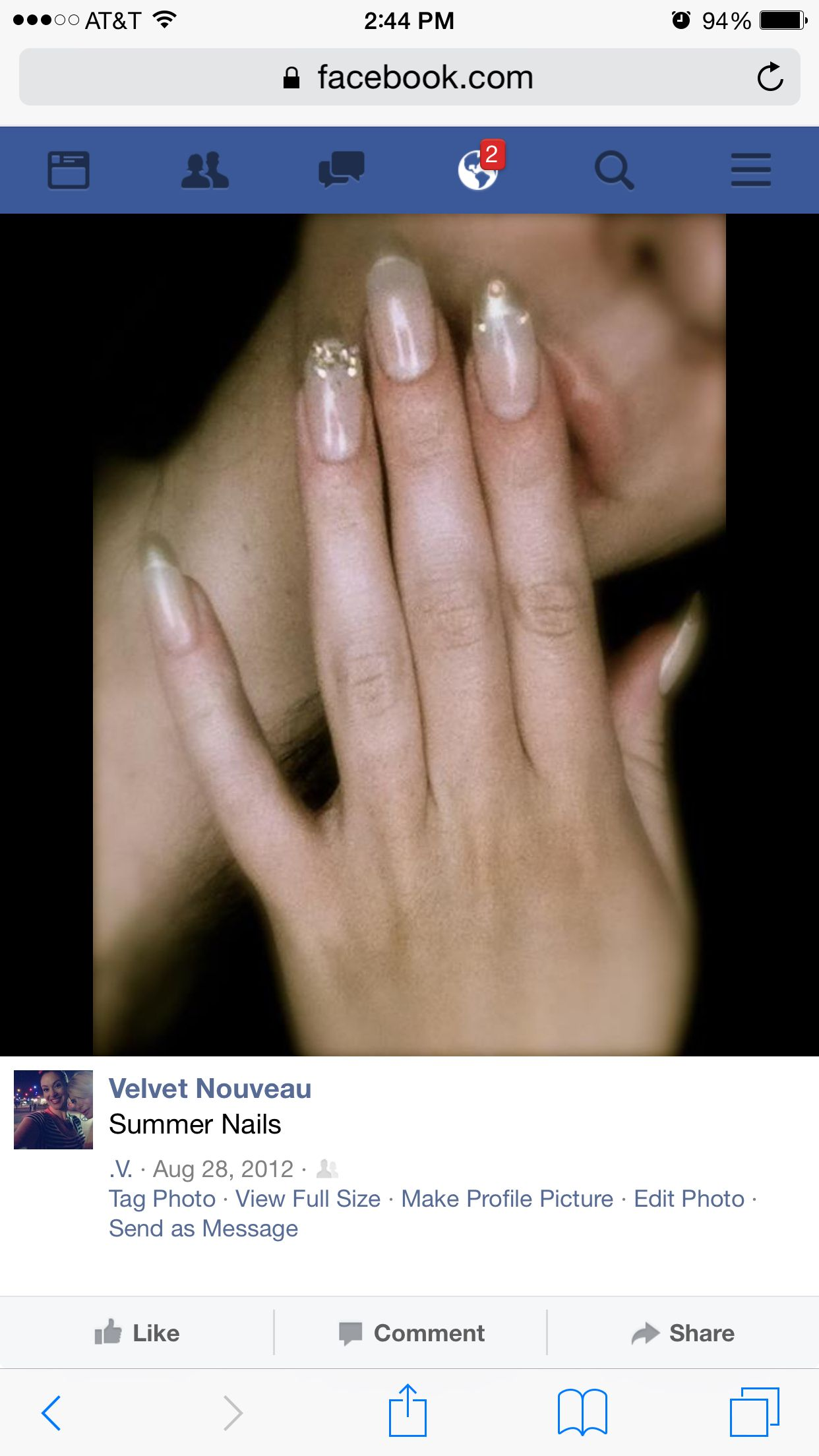 Color: Nude with pearlescent tips Shape: Long, rounded tip Design ...