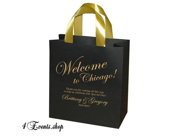 e049fed11a4c 20 Black   Gold Wedding Welcome Bags with satin ribbon handles and your  names - Elegant wedding gift