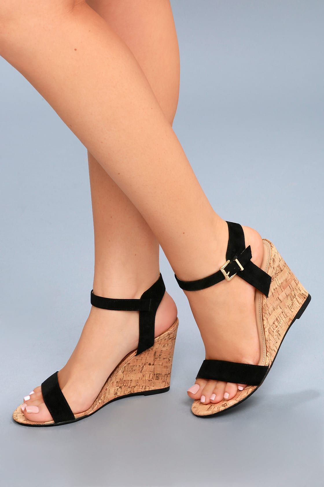 Whitney Black Suede Wedge Sandals in