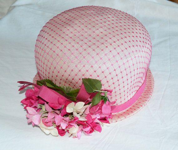 Cloche Hat 50s Schiaparelli Designer Pink with by MoonWalkVintage, £74.00