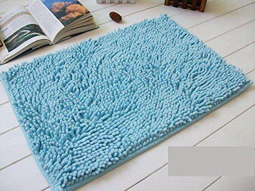 Non Slip Fluffy Bedroom Rug Bath Shaggy Door Carpet Floor Mat (Light Blue)  Bath