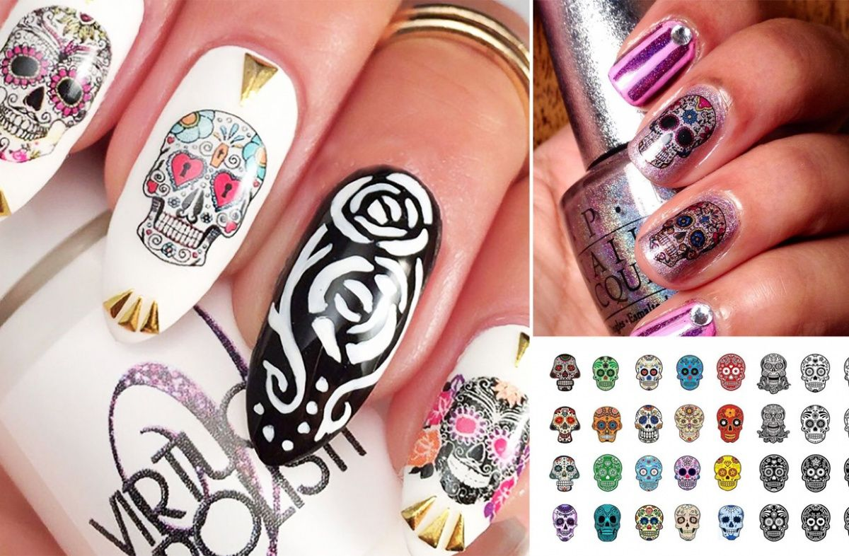 Fancy Day Of The Dead Nails Sketch - Nail Paint Ideas ...