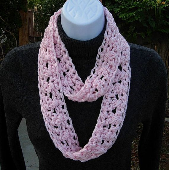 Knitting Pattern For Small Neck Scarf : SUMMER SCARF Infinity Loop Cowl, Solid Light Pink, Soft ...