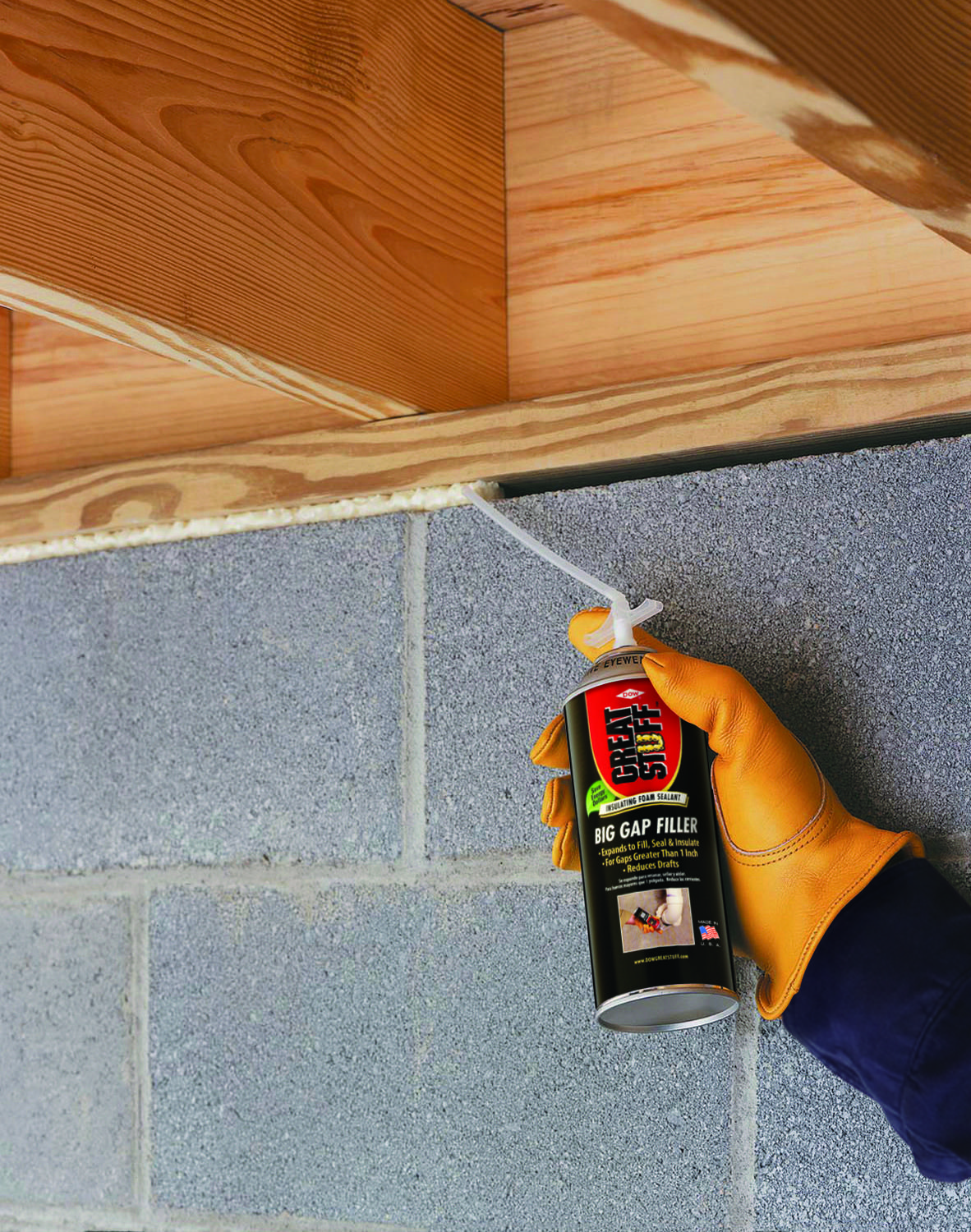 Fill Seal And Insulate Gaps Up To 3 Inches With Great Stuff Big Gap Filler Insulating Foam Sealant Basement Insulation Basement Ceiling Insulation Basement