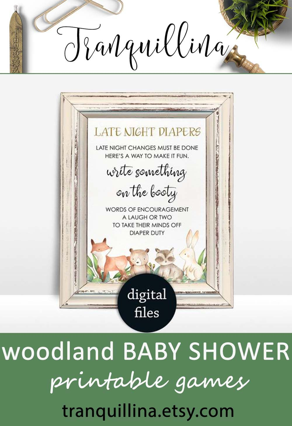 Late night diapers sign Woodland baby shower game Printable girl boy baby shower decor, neutral baby shower game Diaper thoughts game
