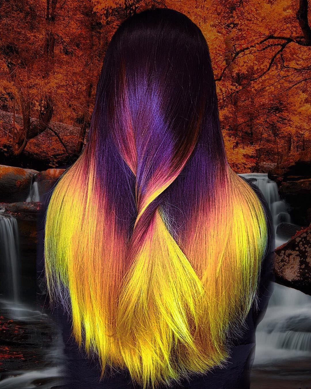 She S A Hallokween Halloween Halloweenhair Vividhair Haircolorideas Vividbalayage Fallhairco Yellow Hair Color Hair Styles Long Hair Styles